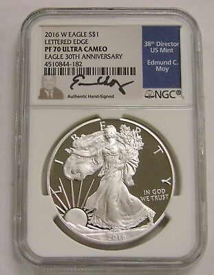 2016 W Proof Silver American Eagle - 30th Anniv. Lettered Edge - NGC PF 70 UCam
