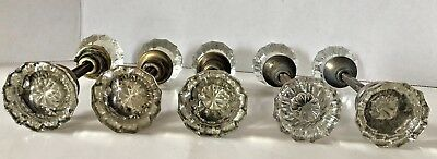 Lot Of 5 Sets (10 Knobs) Glass Crystal Vintage Art Deco Style Door Knobs