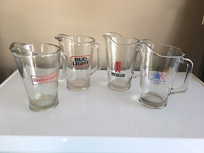 Lot of 4 Heavy Glass Beer Pitchers....Michelob (2) Budweiser & Bud Light
