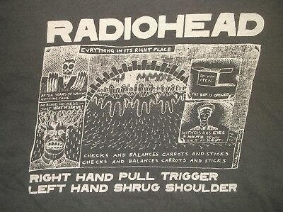 RADIOHEAD t-shirt 2000 Everything Right Place Sex Work Death Donwood concert