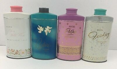 Vintage AVON lot of 4 Powder Perfumed TALC Wishing Rapture Elusive Rose