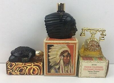 Vintage AVON BOTTLE & BOX LOT CHIEFTAIN TURTLE TELEPHONE perfume cologne