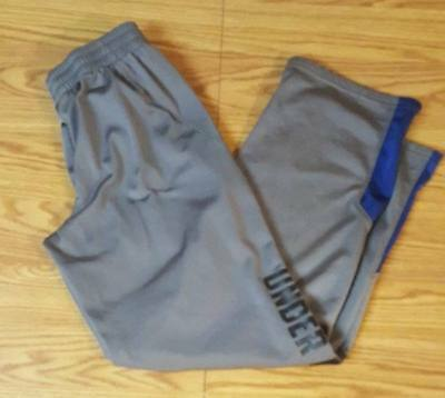 Boys YMD 10/12 Under Armour Gray & Blue Graphic Storm Sweatpants M