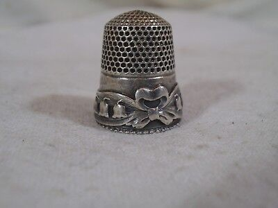 Antique Sterling Silver Lily of the Valley Thimble by Stern Bros & Co-Bow-c1900s
