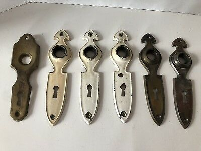 Lot of 6 Vintage Door Escutcheon Plate Art Deco Skeleton Key Cover