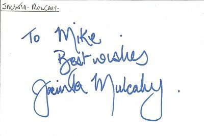 Jacinta Mulcahy actress signed white card dedicated in person autograph Z2504