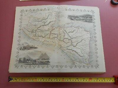 100% Original Central America Salvador Honduras  Map By Tallis C1855 Vgc