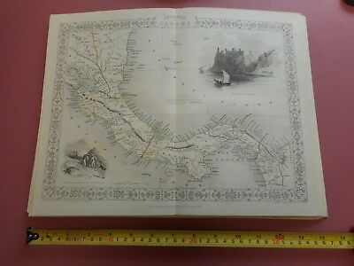 100% Original Panama Central America  Map By Tallis C1855 Vgc