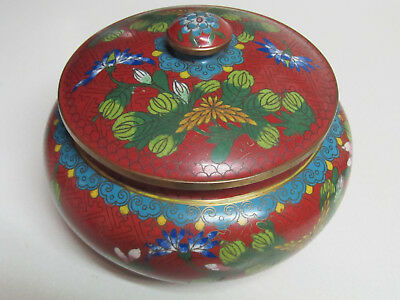 Fine Old or Antique Chinese Floral Design Cloisonne Covered Jar Vase with mark