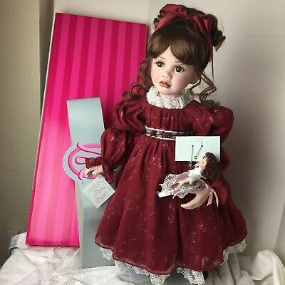 "MARIE OSMOND Young Love Standing Porcelain Doll 27"" Red Dress With Doll 2003 New"
