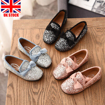 Kids Girls Glitters Bow Loafers Bridemaid Slip-on Toddlers Party Casual Shoes