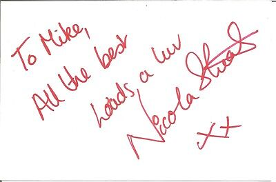 Nicola Stuart actress signed white card dedicated in person autograph Z2533