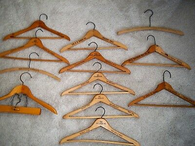 Vintage Lot of 4 Store Advertising Wooden Suit Coat/Dress Hangers 17 inches