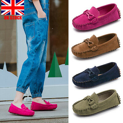 UK Kids Unisex Strap Loafers Moccasins Suede Slip-on Flat Shoes Casual Trainers