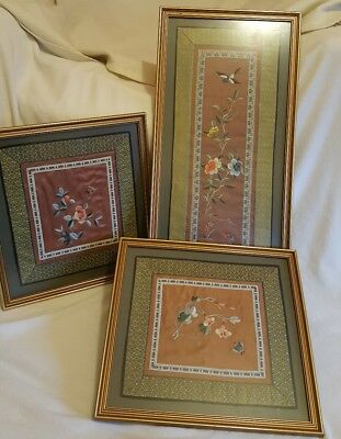 3x Vintage Chinese Finely Embroidered Pictures in Silk