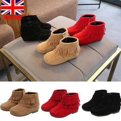 Kids Girls Zip Up Fringing Ankle Boots Winter Suede Flat Shoes Casual Toddlers