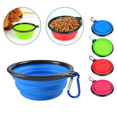 Silicone Foldable Pet Dog Cat Feeding Bowl Travel collapsible Water Feeder UK