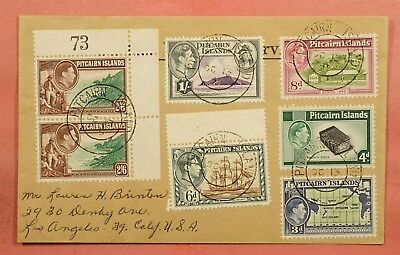 1955 Pitcairn Islands To Usa Multi Franked