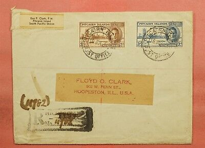 1947 Pitcairn Islands Roy Clark Cover Registered To Usa