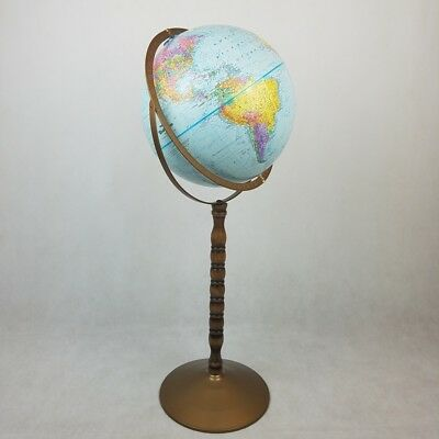 Vintage Replogle Globe With Floor Stand Earth World Nation Series Raised Relief