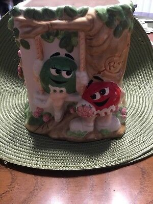 Vintage M&M Ceramic Vase Bowl Jar Mars Collectible Hand Painted M And M Contain