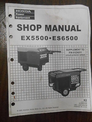 vintage honda factory shop manual supplement ex5500 es6500 61za010x