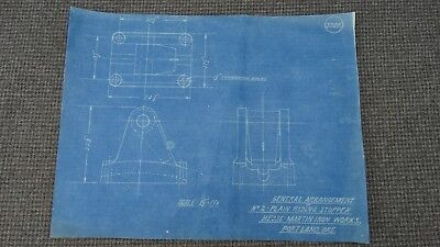 "Original 1918 Blueprint Drawing 8-1/2"" x 11"" - No. 2 Plain Riding Stopper"