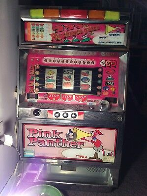 Pachislo Pink Panther Japanese Token Slot Machine WORKS w Manual & Many Tokens