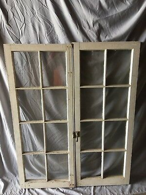 Pair Antique 8 Lite Casement Door Windows Cabinet Shabby Vtg Old   62-18C