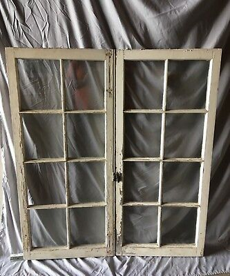 Pair Antique 8 Lite Casement Door Windows Cabinet Shabby Vtg Old   63-18C