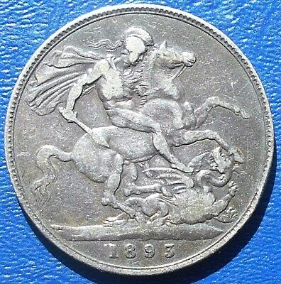 .925 Silver 1893 LVI Great Britain Crown KM#783 Queen Victoria Dragon Slayer 730