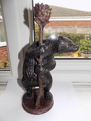 VINTAGE COMPOSITE BLACK FOREST BEAR CANDLESTICK 28.75 cm tall