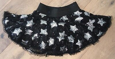 Justice Girls' Black & Silver Tulle Sequin Star Twirly Skirt Size 6 EUC