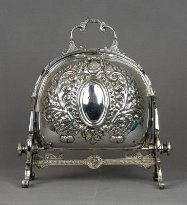 Victorian English Sheffield Silver Plated Breakfast Folding Muffin Warmer 10""