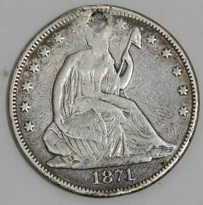1871 Seated Liberty Half 50c #DC-2756 VF/XF Details