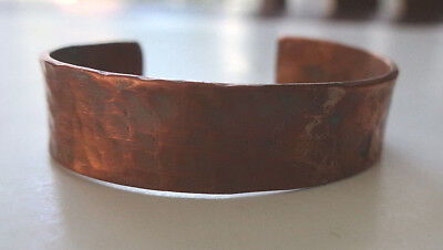 Heavy Vintage Unsigned Solid Hammered Copper Cuff Bracelet Patina 28+ Grams