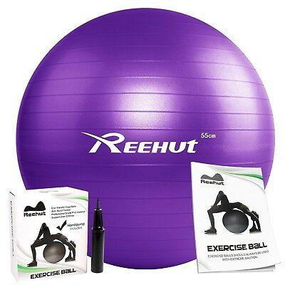 (Purple, 65cm) - REEHUT Anti-Burst Core Exercise Ball with Pump & Manual for