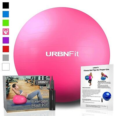 (Pink, 55cm) - URBNFit Exercise Gym Ball (Multiple Sizes And Colours) For