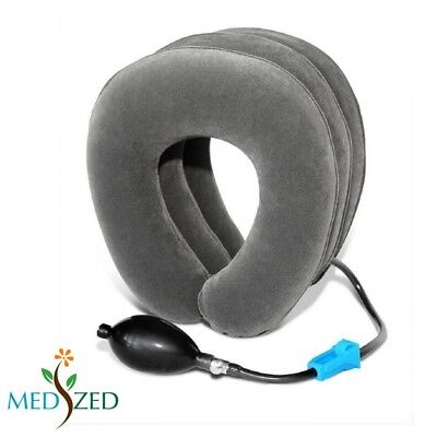 (Gray) - MEDIZED Inflatable Cervical Neck Traction Device Improve Spine