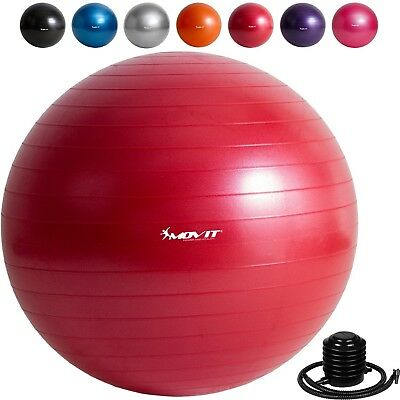 """(Red with foot pump, 65cm (25.6"""")) - MOVIT® Gymnastics Ball with Pump, Sitting"""