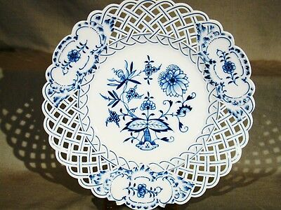 Elegant Meissen Blue Onion First Choice Reticulated Charger Center Bowl 1934+