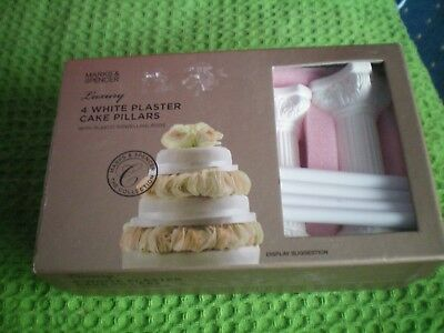 White Plaster Cake Pillars & Dowels Set By Marks & Spencer Used Once Only Vgc