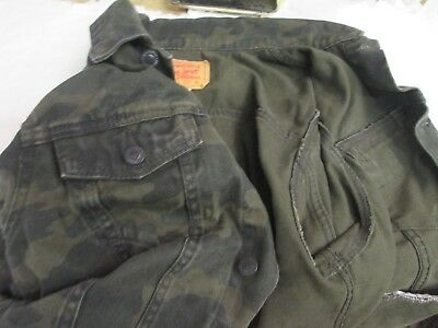 Levis Jean jacket youth 13-15 yrs XL red tag green camoflauge denim coat