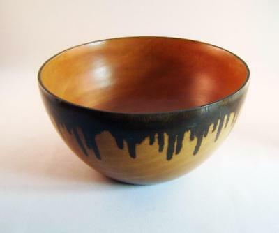 Wide & Deep Turned Wood Bowl 20 cm x 10cm with drip stained decoration