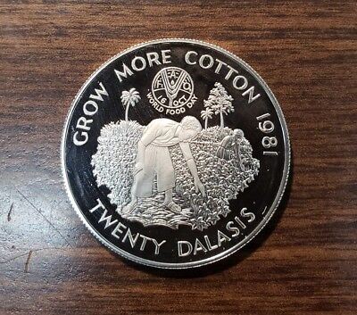 Gambia 1981 20 Dalasis F.A.O. Proof Silver Coin