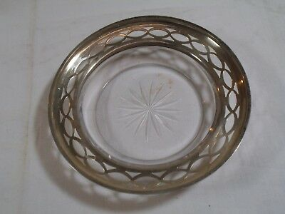 "4.5"" Frank Whiting Pierced Sterling Silver w/Glass Coaster Bowl Basket"
