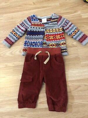 Hanna Andersson Baby Sz 70 12 Months Fair Isle Nordic Sweater & Corduroy Pants