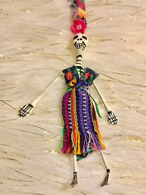 """Mexican """"Day of the Dead"""" Skeleton Catrina Doll Necklace"""
