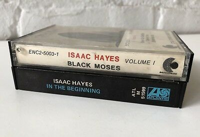 2 ISAAC HAYES Cassette Tapes Black Moses In The Beginning blues jazz soul funk