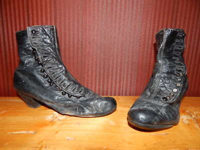 Vintage Antique Victorian Black Leather Button Up Boots Goth Steampunk Shoes